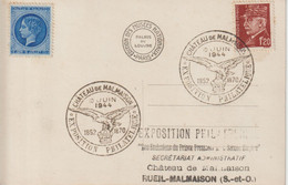 France 1944 Expo Philatélique Chateau De Malmaison Avec Vignette - Commemorative Postmarks