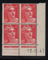 FRANCE  Coin Daté **  Type Marianne De Gandon  6f  Rose  12.12.47  N° Yvert 721A  Neuf Sans Charnière - 1940-1949