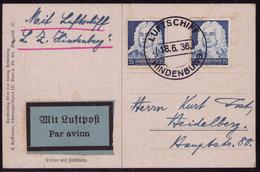 Zeppelin Postkarte Luftschiff Hindenburg LZ 129 1936 Sieger 416 - Zeppelines