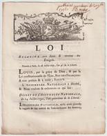1792, Loi Relative Aux Biens Et Revenus Des Emigrés - Décrets & Lois