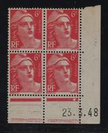 FRANCE  Coin Daté **  Type Marianne De Gandon  6f  Rose  23.3.48  N° Yvert 721A  Neuf Sans Charnière - 1940-1949