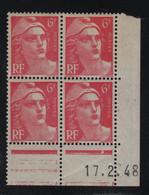 FRANCE  Coin Daté **  Type Marianne De Gandon  6f  Rose  17.2.48  N° Yvert 721A  Neuf Sans Charnière - 1940-1949