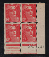 FRANCE  Coin Daté **  Type Marianne De Gandon  6f  Rose  25.7.47  N° Yvert 721A  Neuf Sans Charnière - 1940-1949