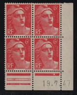 FRANCE  Coin Daté **  Type Marianne De Gandon  6f  Rose  19.7.47  N° Yvert 721A  Neuf Sans Charnière - 1940-1949