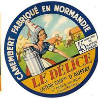 ETIQU.  CAMEMB. LAIT. COOP. D' AUFFAY St Denis Sur Scie 76 - Cheese