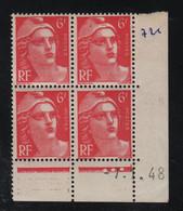 FRANCE  Coin Daté **  Type Marianne De Gandon  6f  Rose  -7.1.48  N° Yvert 721A  Neuf Sans Charnière - 1940-1949