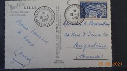 Carte De 1951 Avec Cachet De L'exposition Internationale Du Textile à Lille, Et Bel Affranchissement En Rapport. - Lettres & Documents