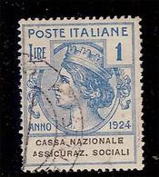 (Fb).Regno.V.E.III.1924.Franchigia.Enti Parastatali.1 Lira Azzurra Usata  (108-16) - Portofreiheit