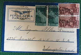 1947- Italia - Busta Viaggiata  Da Napoli Per Indianapolis - Via Aerea - 36 - 1946-60: Storia Postale