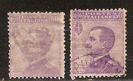 """(Fb).Regno.V.E.III.1908.Varietà.50c """"Effigie"""" Con Stampa Evanescente E Decalco Della Filigrana (13-19) - Ungebraucht"""
