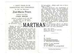 DOODSPRENTJE PRIEM ZOE-MARIE WEDUWE MESURE EGEM ROESELARE 1892 - 1970 - Devotion Images