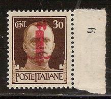 (Fb).R.S.I.1944.-30c Nuovo,bordo Di Foglio Con Numero Di Registro,gomma Integra,MNH (39-21) - Ungebraucht