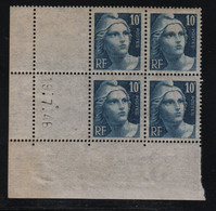FRANCE  Coin Daté **  Type Marianne De Gandon  10f Gravé  Bleu  19.7.46  N° Yvert 726  Neuf Sans Charnière - 1940-1949