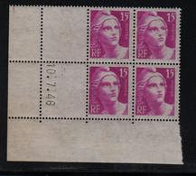 FRANCE  Coin Daté **  Type Marianne De Gandon  15f Gravé  Lilas  10.7.46  N° Yvert 727  Neuf Sans Charnière - 1940-1949