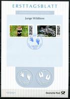"""Germany, Allemagne 2021 ETB 17/2021,Mi.Nr.3608/09 """"Junge Wildtiere-Feldhamster U.Steinbock """"1 ETB Used - FDC: Hojas"""
