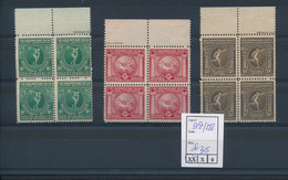 BELGIUM OLYMPIC GAMES OF ANTWERPEN 1920 COB 179/181 BLOCKS OF 4  MNHMARGINAL INSCRIPTIONS - Nuovi
