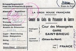 La Croix Rouge Française, Comité Du Colis Du Prisonnier De Guerre - Gare Saint-Brieuc - Mr Legris Rober Stalag XIII C - Historical Documents