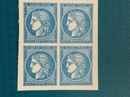 Cérès 60 , 25c Avec Faciale En Bloc De 4 ND Papier / Carton Réimpression Ptt  Tb - 1871-1875 Cérès