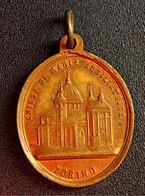 """Médaillon Pendentif Médaille Religieuse Bronze XIXe """"Torino / Sanctuaire De Marie Auxiliatrice Turin"""" Religious Medal - Religion & Esotericism"""