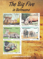 2018 Botswana The Big 5 Elephants Lions Rhinos Leopards Souvenir Sheet MNH - Botswana (1966-...)