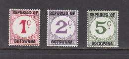1967 Botswana Postage Dues Overprints   Complete Set Of 3 MNH - Botswana (1966-...)