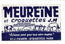 Buvard MEUREINE Et Croquettes J. M. Vache Cochon Porc Poule Cheval Canard J. Meurin Strazeele Nord - Animals