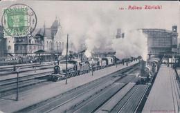 Zürich Bahnhof, La Gare, Chemin De Fer Et Train à Vapeur (1.7.1908) Usure Des Angles - ZH Zurich