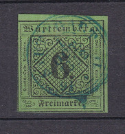 Wuerttemberg - 1851 - Michel Nr. 3 K3 Stuttgart In Blau - Gestempelt - 40 Euro - Wurtemberg