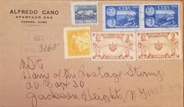 O) 1953 CUBA, CARIBBEAN, MANUEL BALANZATEGUI, ANTONIO L. PAUSA AND TRAIN WRECK, SCT 454. MACEO, BOLIVAR, JAUREZ, LINCOLN - Covers & Documents