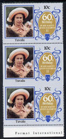 Tuvalu 1986 Queen's 60th Birthday 10c U/M Strip Of 3, Centre Stamp Imperf On 3 Sides Due To Comb Jump SG 381var (UH £35 - Tuvalu (fr. Elliceinseln)