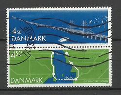 DENMARK Dänemark 2000 Michel 1253 - 1254 As Pair O Öresund Bridge Brücke Ship - Oblitérés