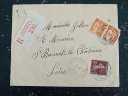 CLERMONT FERRAND RP - PUY DE DOME - CACHET ROND MANUEL SUR PAIX ET SEMEUSE - HOROPLAN SAINT BONNET LE CHATEAU LOIRE DOS - Manual Postmarks