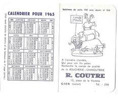 CALENDRIER 1965 R. COUTRE BOUCHERIE CHARCUTERIE A GIEN LOIRET, L ART D HARMONISER LES VINS ET LES METS, RARE SPECIMEN - Tamaño Pequeño : 1961-70