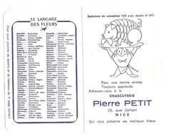 CALENDRIER 1965 CHARCUTERIE PIERRE PETIT NICE ALPES MARITIMES, LA LANGAGE DES FLEURS, RARE SPECIMEN A SAISIR - Tamaño Pequeño : 1961-70