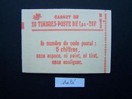 1973-C1a CONF. 8 CARNET DATE DU 28.7.7? FERME 20 TIMBRES SABINE DE GANDON 1,00 VERT CODE POSTAL (BOITE C) - Standaardgebruik