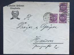 GERMANY 1923 Cover Diepholz To Hanover - `Wilhelm Stuven` - Lettres & Documents