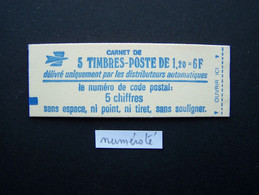 1974-C1a CARNET NUMEROTE FERME 5 TIMBRES SABINE DE GANDON 1,20 ROUGE CODE POSTAL (BOITE C) - Standaardgebruik
