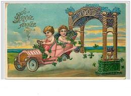 Carte Gaufrée - Bonne Année - Enfants En Voiture - 1909 - Anno Nuovo