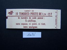 1974-C2 CARNET DATE DU 26.9.78 FERME 10 TIMBRES SABINE DE GANDON 1,20 ROUGE CODE POSTAL (BOITE C) - Standaardgebruik
