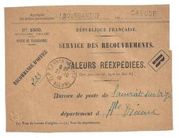DEVANT De LETTRE 1926  VALEURS REEXPEDIEES N° 1500 - BOURGANEUF CREUSE → SAUVIAT SUR VIGE HAUTE VIENNE - 1921-1960: Periodo Moderno