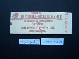 1974-C2a CONF. 5 CARNET NUMEROTE + 1 REPERE FERME 10 TIMBRES SABINE DE GANDON 1,20 ROUGE CODE POSTAL (BOITE C) - Standaardgebruik