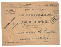 DEVANT De LETTRE 1927 VALEURS REEXPEDIEES N° 1500 - LONZAC CHARENTE INFÉRIEURE → LE LONZAC CORREZE - 1921-1960: Periodo Moderno