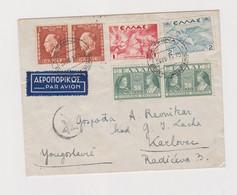 GREECE 1939 ATHINAI ATHENS Airmail Cover To Yugoslavia - Brieven En Documenten