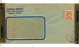 Lettre Cachet Hagen Sur Chiffre Censure Controle Americain - American/British Zone