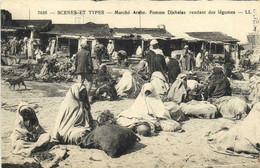 SCENES ET TYPES  Marché Arabe Femmes Djebalas Vendant Des Légumes RV - Plaatsen