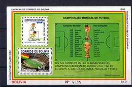 Soccer World Cup 1994 - Football - BOLIVIA - S/S MNH - 1994 – USA