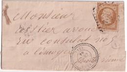 1863 - HAUTE VIENNE - LETTRE SC (BOITE RURALE NON IDENTIFIEE) De LINARDS Avec T22 + GC 4381  IND 14 ! - 1849-1876: Klassik