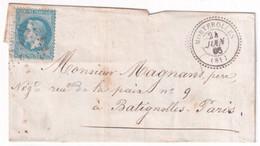 1868 - HAUTE VIENNE - LETTRE SC De MORTEROLLES Avec T22 + GC 2550  IND 10 - 1849-1876: Klassik