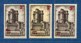 ⭐ France - Variété - YT N° 491 - Couleurs - Pétouille - Surcharge Décallée - Neuf Sans Charnière - 1941 ⭐ - Varieties: 1941-44 Mint/hinged