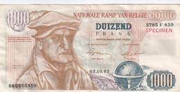 NEPBILJET ,, DUIZEND FRANK BETAALBAAR AAN THEO  - NATIONALE RAMP VAN BEGIE - 2 SCANS - [ 8] Fictifs & Specimens